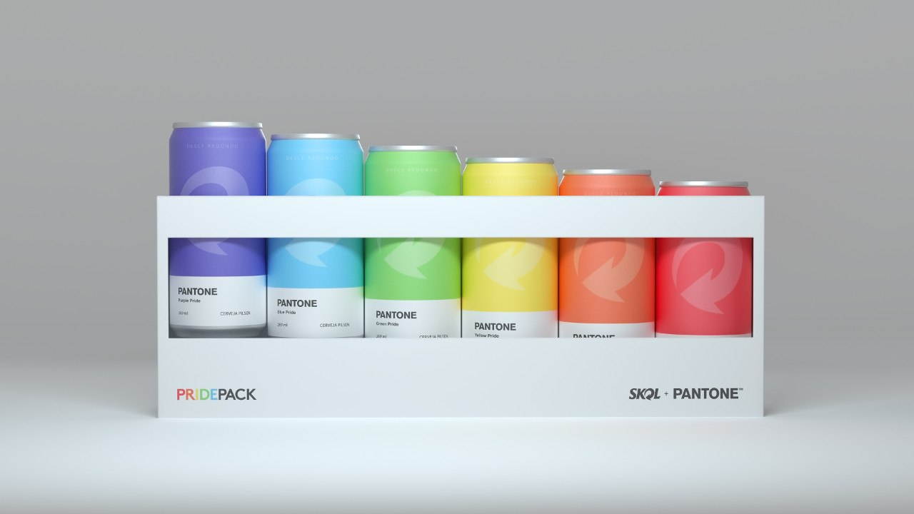edição limitada das latinha coloridas da skol em parceria com a pantone
