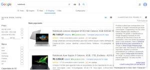 página google shopping explicação produtos patrocinados