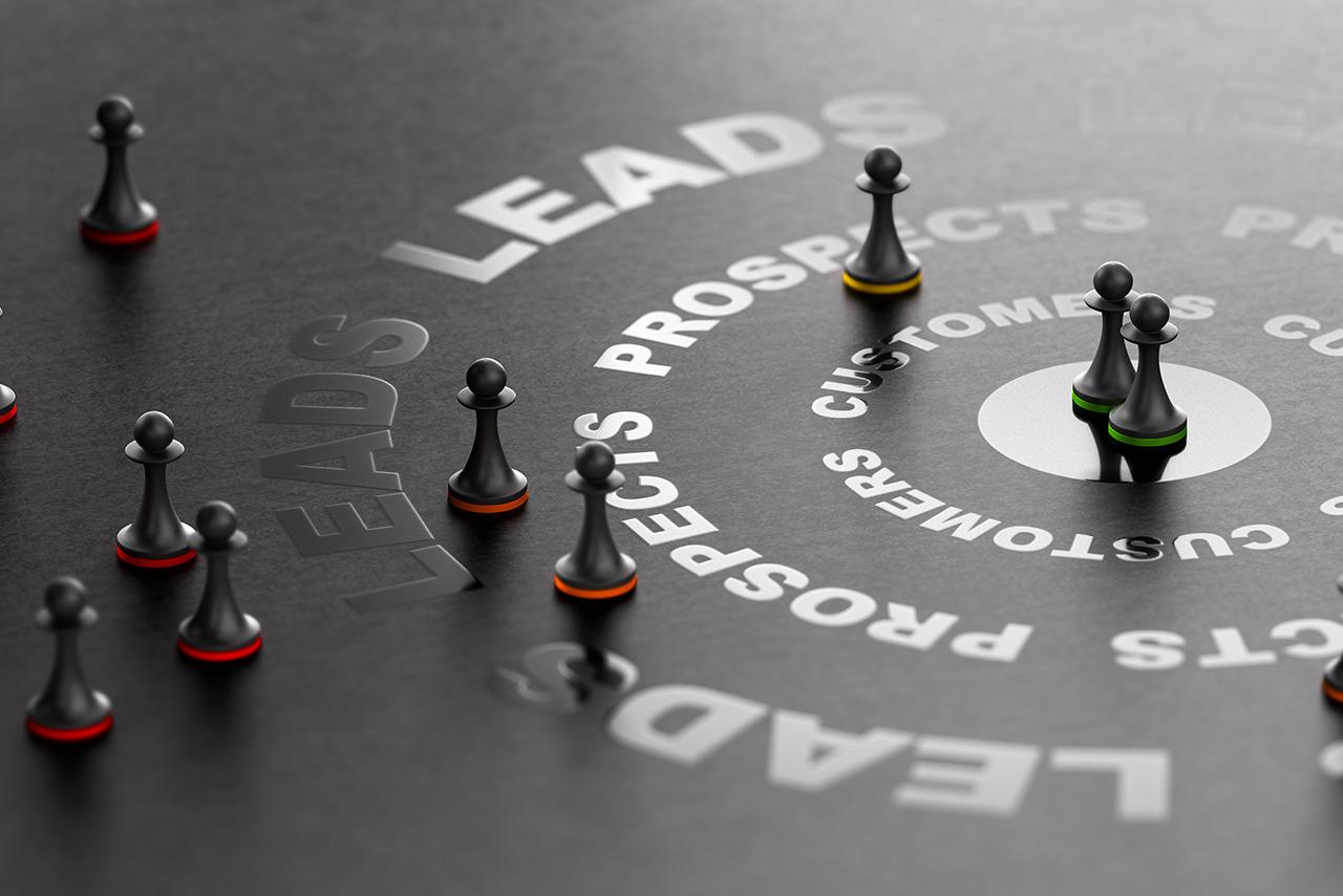 gestão de leads funil vendas peças xadrez fundo preto